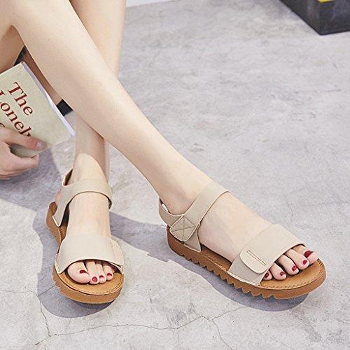 A Yubinliangxie Estudiante Salvaje Moda Sandalias Zapatos Hembra Plano Rojos nwn78q