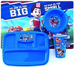 Paw Patrol Dinnerware Set Includes Paw Patrol Lunch Placemat, 4 Sectioned Plate, Sip Bowl & 16oz 3d Tumbler
