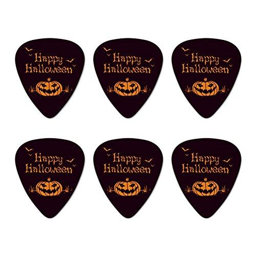 Happy Halloween Holiday Pumpkin Jack-o-lantern Bats Novelty Guitar Picks Medium Gauge - Set of 6