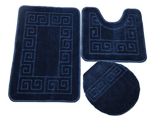 Pauwer Bath Rug Sets 3 Piece for Bathroom Non Slip Bath Mat Set Washable Bath Rug Set Pattern 28.4