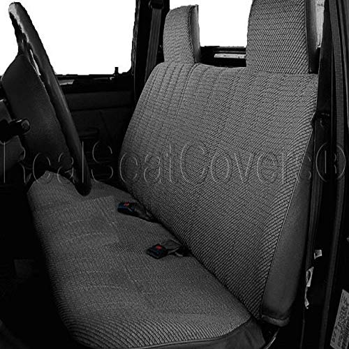 RealSeatCovers for Front Solid Bench A23 Triple Stitched Molded Headrest Belt Cutout Exact Fit for Toyota Pickup 1984-1989 (Charcoal)