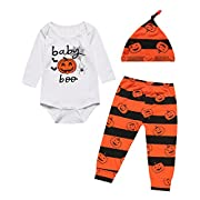 Crazybee Pumpkin Halloween Costume 3PCS Outfit Set Baby Boy Girl Romper (0-3 Months)