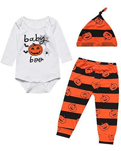 iCrazy Halloween Pumpkin Costume 3PCS Outfit Set Baby Boy Girl Romper (0-3 (Halloween Baby Outfits)
