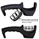 BOGZON-Kitchen-Outdoor-Multipurpose-Knife-SharpenerGrinder-3-Stage-Sharpening-System-Tungsten-Steel-Ceramic-Carborundum-for-Knives-Long-Ergonomic-Handle-Black