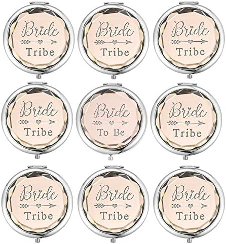 SFHMTL Pack of 9 Compact Pocket Makeup Mirrors Set Include 1 Bride to Be Mirror and 8 Bride Tribe Mirrors Bachelorette Party Bridesmaid Proposal Gifts Champagne