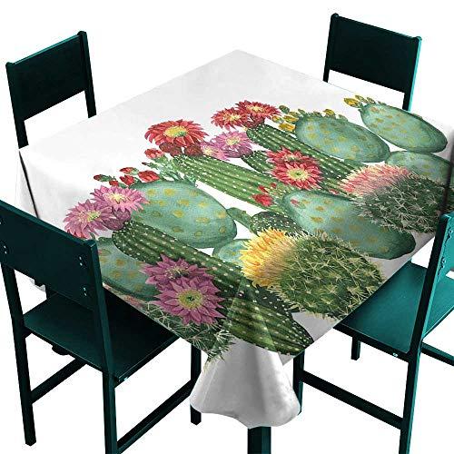 Cactus Decor Table Cover Saguaro Barrel Hedge Hog Prickly Pear Opuntia Tropical Botany Garden Plants Multicolor Tablecloth 4 Seater W 54