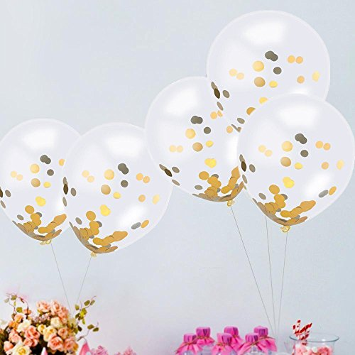 Gbell  Confetti Balloons 12 Inches Gold,20 Pcs/Set Golden Confetti Balloons Party Balloons Confetti for Birthday Parties Supplies Anniversary Graduation Dots Decorations]()