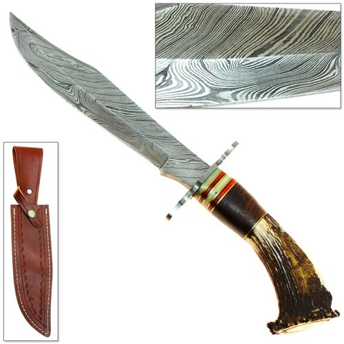 Epic Super Bowie Knife - Damascus 1095 High Carbon Steel Forged Stag Handled
