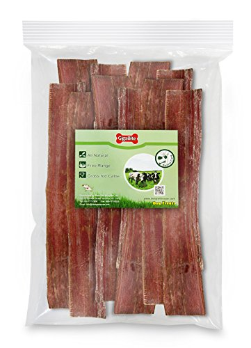 GigaBite 12 Inch Beef Gullet Jerky Strips (10 Pack) – USDA & FDA Certified, All Natural, Free Range Beef Esophagus Taffy Dog Treat – By Best Pet Supplies