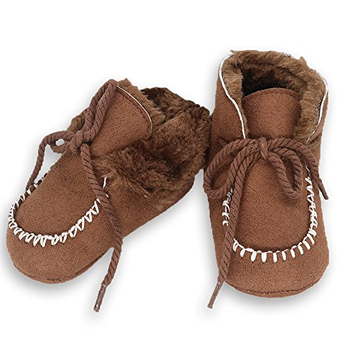 Baby Soft Sole Snow Crib Shoes Toddler Boots Brown - 6