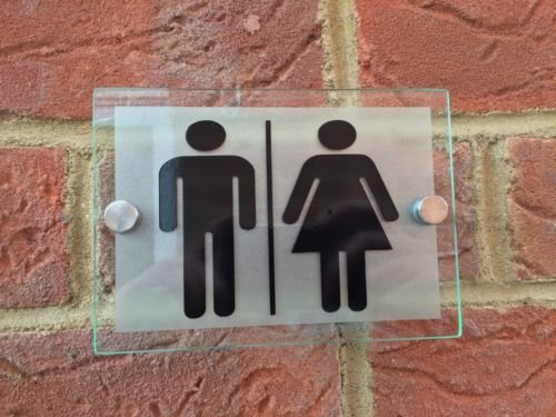 Office/Commercial Toilet Men and Woman Unisex Sign Glass Acylic Plaque