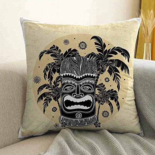 Tiki Bar Decor Silky Pillowcase Tiki Mask Figure Palm Trees Ornate Flowers Sunny Summer Party Print Super Soft and Luxurious Pillowcase W16 x L16 Inch Brown White - Towel Bar Sonora