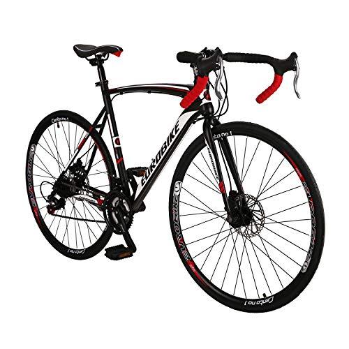 Road Bike LZ-550 Steel Bicycle disc Brake 21 Speed Road Bike Black/White 54cm