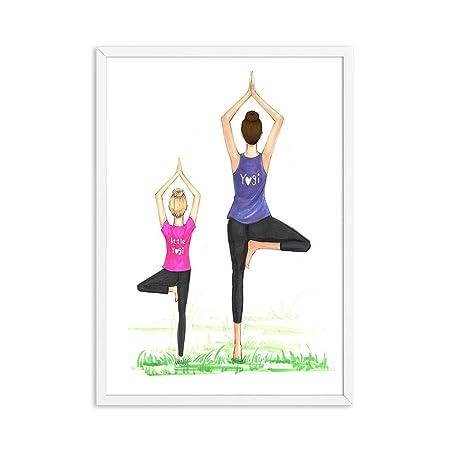 HXQQ Moda mamá e Hija Yoga Cita Carteles e Impresiones ...
