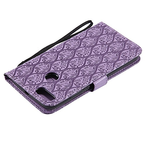 Funda Xiaomi Mi 5X, SsHhUu Funda PU Piel Genuino Carcasa en Folio [Ranuras para Tarjetas] [Cierre Magnetico] con Acollador para Xiaomi Mi 5X / Mi A1 (5.5) - Marrón Púrpura