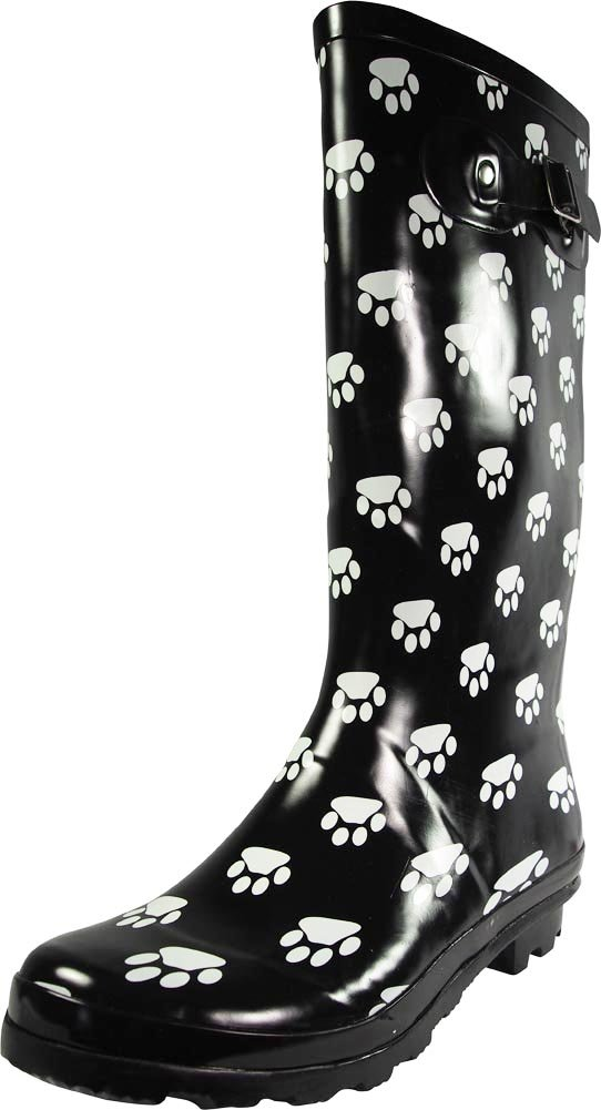 NORTY - Womens Hurricane Wellie Gloss Hi-Calf Paw Printed Rain Boot, Black, White 39209-8B(M) US