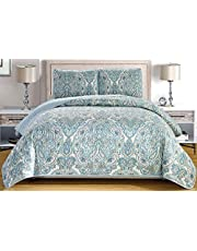 """3-Piece Fine Printed Oversize (100"""" X 95"""") Quilt Set Reversible Bedspread Coverlet Full/Queen Size Bed Cover (Pale Blue, Grey, Paisley)"""