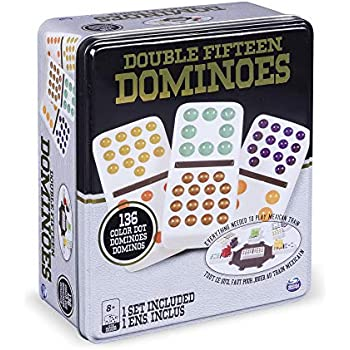 Double 15 Color Dot Dominoes in a Collectors Tin (styles will vary)
