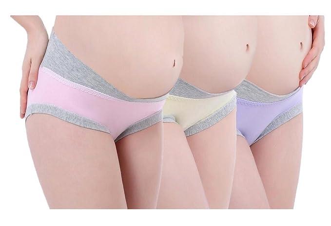 c606b0c79 Foucome 3pcs Cotton U-Shaped Low Waist Maternity Underwear For Pregnant  Women Pink Yellow  Purple