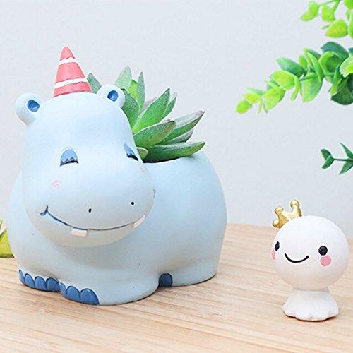 Messagee Cute Hippo Succulent Pots with Drainage Resin Mini Flower Pot Garden Plants Vase Desk Flower Decoration