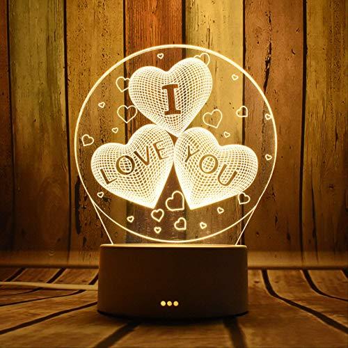 TIDRT Luz De Noche 3D Creativa Chica De Dibujos Animados Corazon Regalo Lampara Dormitorio Lampara De Noche Lampara De Mesa De Ensueno Iluminacion Romantica