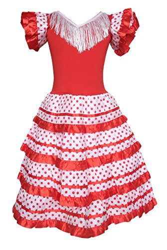 La Senorita Spanish Flamenco Dress Princess Costume - Girls/Kids - Red/White (Size 4-3-4 Years, Red White) -