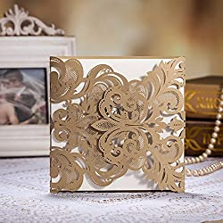 Wishmade 50x Luxury Champange Gold Laser Cut Wedding Invitations Cards Kits with Lace Sleeve Hollow Favors Pattern(set of 50pcs) CW3109