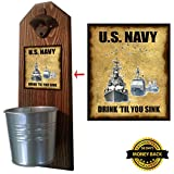 """U.S. Navy – Drink 'Til You Sink"" Bottle Opener and Cap Catcher – Handcrafted by a Vet – Made of 100% Solid Pine 3/4″ Thick – Rustic Cast Iron Bottle Opener and Sturdy Mini Galvanized Bucket Review"