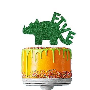 LissieLou Dinosaur 5th Birthday Cake Topper