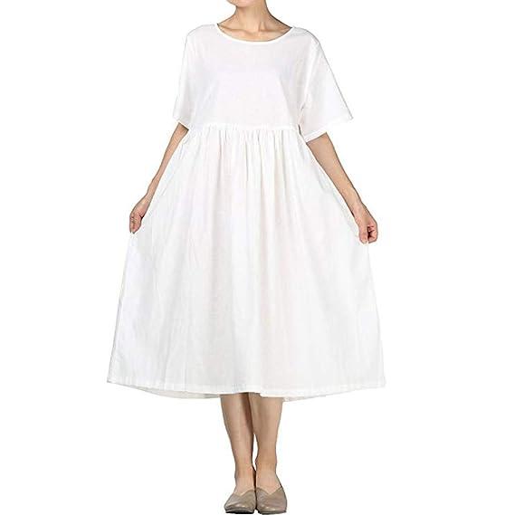 Damen Tasten V-Ausschnitt Gestreift Gürtel Sommer Freizeitkleider Kurzarm Kleid