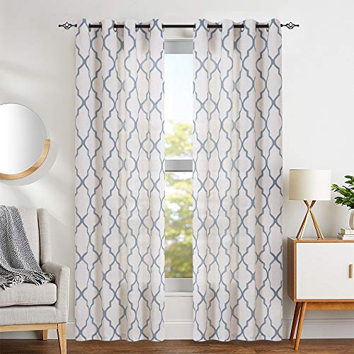 jinchan Moroccan Print Curtains for Bedroom- Quatrefoil Flax Linen Blend Textured Geometry Lattice Grommet Window Treatment Set for Living Room - 50