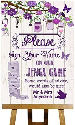 Shabby Chic consolas de mensaje Jenga de madera blanca y Morado personalizable tarjeta de diseño con texto en inglés Collection de boda para con estampado impreso Medium A4: Amazon.es: Oficina y papelería