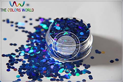 Kamas LM-75 Size 3 mm laser holographic Royal Blue color Glitter paillette Dot shape spangles for Nail Art and DIY supplies - (Color: 200g)