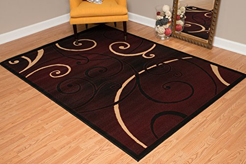 United Weavers of America Dallas Bangles Rug - 5ft. 3in. x 7ft. 2in, Burgundy Red, Jute Backing Rug with Scrollwork Pattern. Modern Indoor Rugs