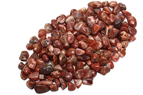 ZenQ 1 lb Red Agate Tumbled Stone Chips Crushed Natural Crystal Quartz - Agate Tumbled