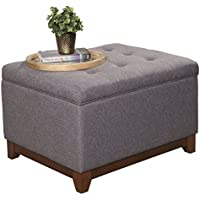 Transitional Solidwood Tufted Storage Cocktail Ottoman in Charcoal Gray