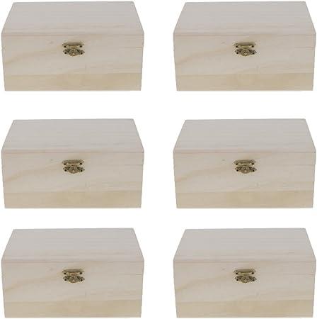 Caja de Almacenaje, Estuche de Madera, 17,5 x 8 x 12,5 cm, DIY Caja para Pintar Colorear (6 Piezas): Amazon.es: Hogar