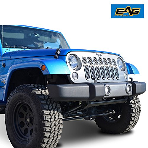 Billet Chrome Grille Shell - EAG Jeep Wrangler JK Chrome Front Upper Hood Billet Grille with Shell