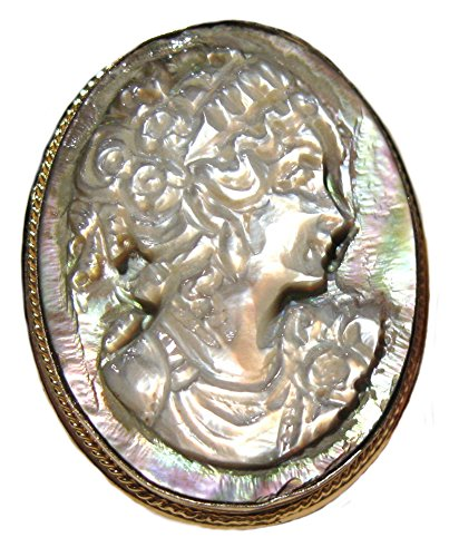 Princess Cameo Pin Pendant Enhancer Italian Master Carved, Mother of Pearl Italian