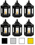 6pc Mini Black Candle Lanterns with Flickering LED Tea Light Candle, Batteries Included