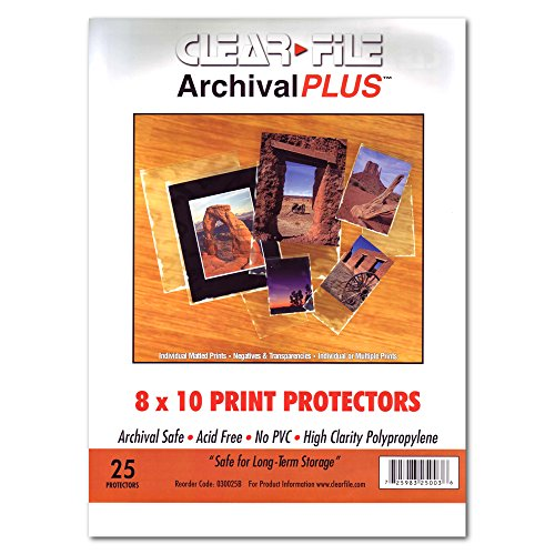 "Clear File - Archival Photo Print Protectors - 8"" X 10"" - 25 Pack - 030025B"