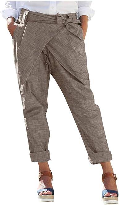 Gusspower Mujer Pantalones Chándal de Lápiz Largos Casual de Lino ...