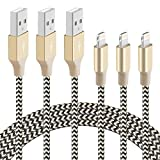 good apple charger - BUDGET & GOOD iPhone Charging Cables 6.5ft Nylon Braided Lightning to USB Cable for iPhone 7 7 Plus 6s 6s Plus 6 6 plus 5c 5s 5 iPad Air iPad mini iPod ( Black and Gold) - 3 Pack