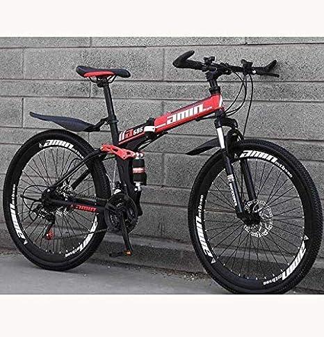 HCMNME Bicicleta Duradera MTB de Edad, Estructura de suspensión de Peso Ligero de Alta de Acero al Carbono Completo, con Amortiguador Delantero Tenedor, Freno de Disco Cuadro de aleación con: Amazon.es: Hogar