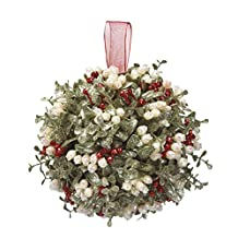Door Décor Holly Mistletoe Kissing Ball - 10 Inch