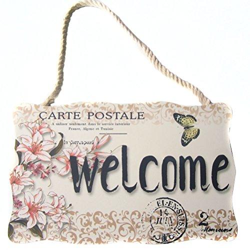 WINOMO Vintage Signe de suspension de bienvenue Bar Café Magasin Décor Porte de plaque mur Panneau suspendu