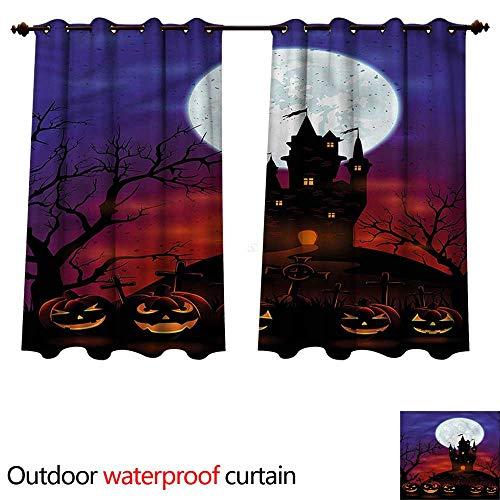 cobeDecor Halloween Home Patio Outdoor Curtain Haunted Castle W55 x L45(140cm x -