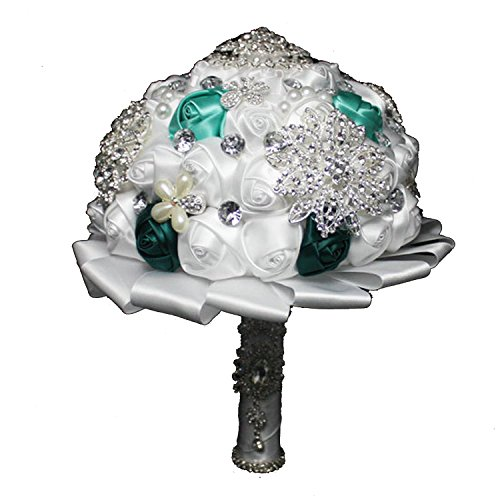 Wedding Bouquets,Bridal Bride Holding Flowers,Water Drops (White + Green) (Bouquets Bridal Green)