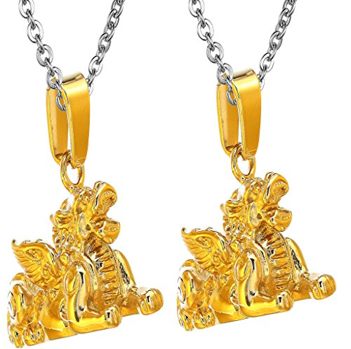 (Daesar 2PCS His & His Matching Set Necklace Stainless Steel Chinese Retro Lucky Kylin with Chain)