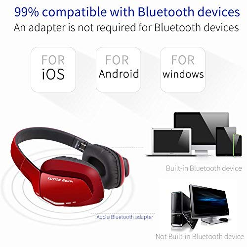 Cuffie Wireless Bluetooth KOTION EACH Gameing per PS4, Xbox One S, PC, Tablet, iPhone 5/5s 6/6S plus 7, Samsung S3/S4,HTC, Huawei, LG, Xiaomi, ipad e Mac Pieghevoli con Microfono Rosso